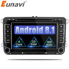 Eunavi 2GB Quad Core Android 8.1 2 DIN Car dvd player For VW GOLF JETTA POLO TOURAM PASSAT B6 with GPS ,stereo,radio, WIFI DAB+(China)