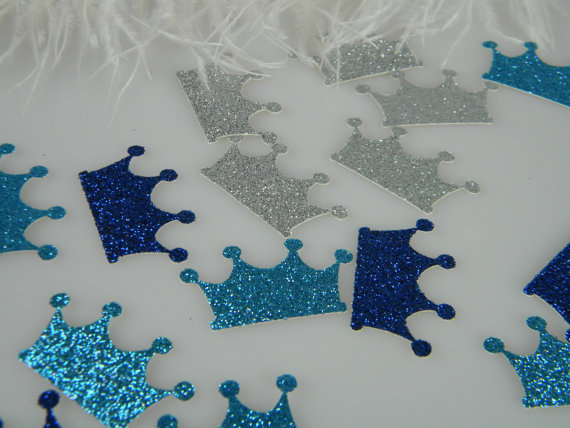 boy prince crowns confetti scatter beach wedding birthday bridal baby shower table decor scrapbook confettis