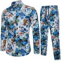 2019 Spring Summer New Style Fashion Floral Print Men's Set Shirt+Pant Casual Shirts Suits Cotton Linen Material Plus Size 5XL