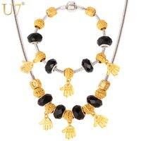 U7 DIY Perle Cristal Collier Ensemble Or Couleur Main Forme Strand Collier Bracelet Ensemble de Bijoux Cadeau pour les Amoureux Femmes S601