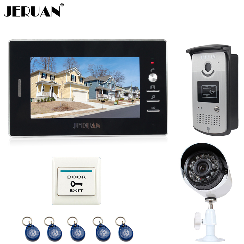 JERUAN 7 inch LCD Video door Phone Intercom System waterproof RFID Access Camera + 700TVL Analog Camera In Stock FREE SHIPPING jeruan home 7 inch lcd screen video door phone intercom system 1 monitor 700tvl rfid access camera remote control in stock