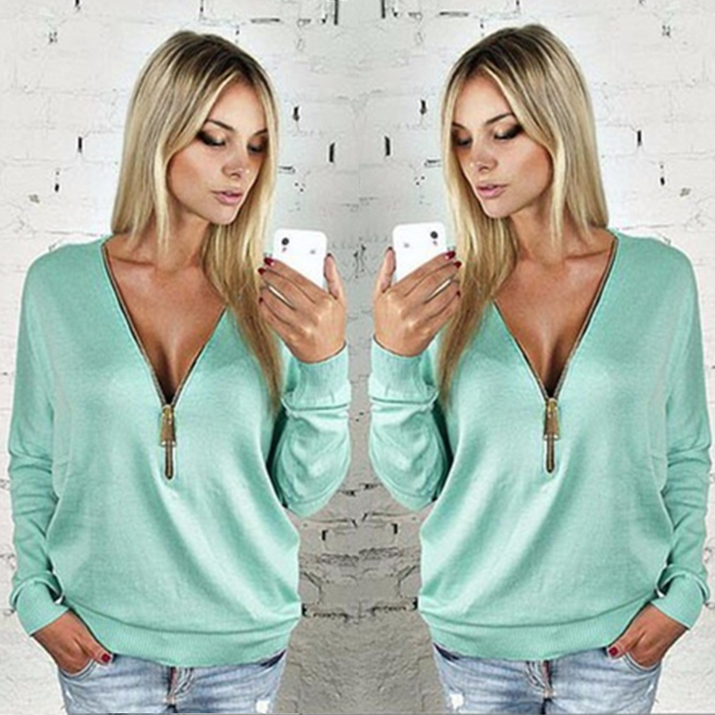 Fashion new style women autumn zipper t shirt hot selling female leisure long sleeve tee tops t-shirt das mulheres TVT1
