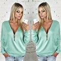 2016 Moda nuevo estilo mujeres de la cremallera del otoño camiseta caliente venta de ocio femenino de manga larga tee tops camiseta das mulheres TVT1