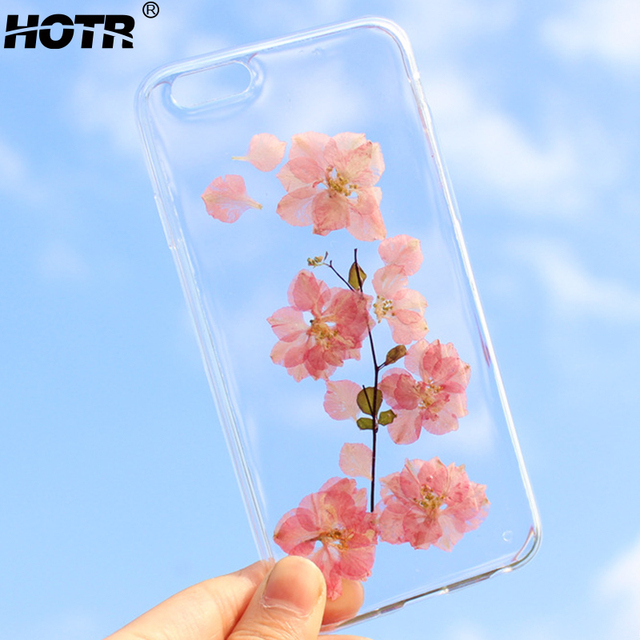 HOTR Dried Real Flower Phone Cases For iphone 6 6s 6 plus For iphone 7 7 plus Transparent Ultra Slim Soft TPU Case Back Cover