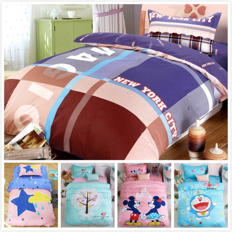 Cute Animal Cartoon Print 100% Pure Cotton 3pcs Bedding Set 150x200 Duvet Cover Quilt Case Kids Soft Bed Linen 1m 1.2m 1.3m Boys