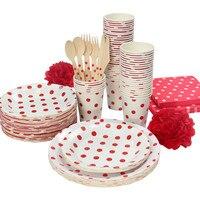 Blanc et Rouge Pois Parti Vaisselle Fête d'anniversaire plaque de papier tasses serviettes papier de paille Couverts Ensemble