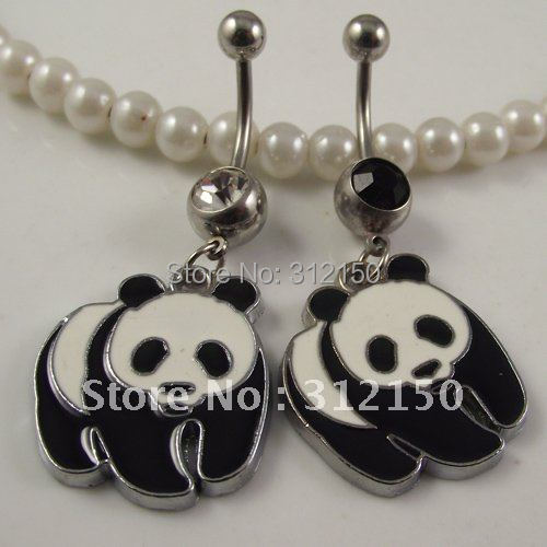 2015 NEW Fashion Free Shipping Body jewelry navel ,Belly ring,Navel jewelry Panda Animal Belly Button Rings