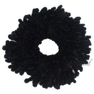 Image 3 - Пушистая девочка, 1 шт., мусульманские женские модные резинки, эластичные резинки для волос, большой размер, вязаные шерстяные волосы, конский хвост, держатель для пучков