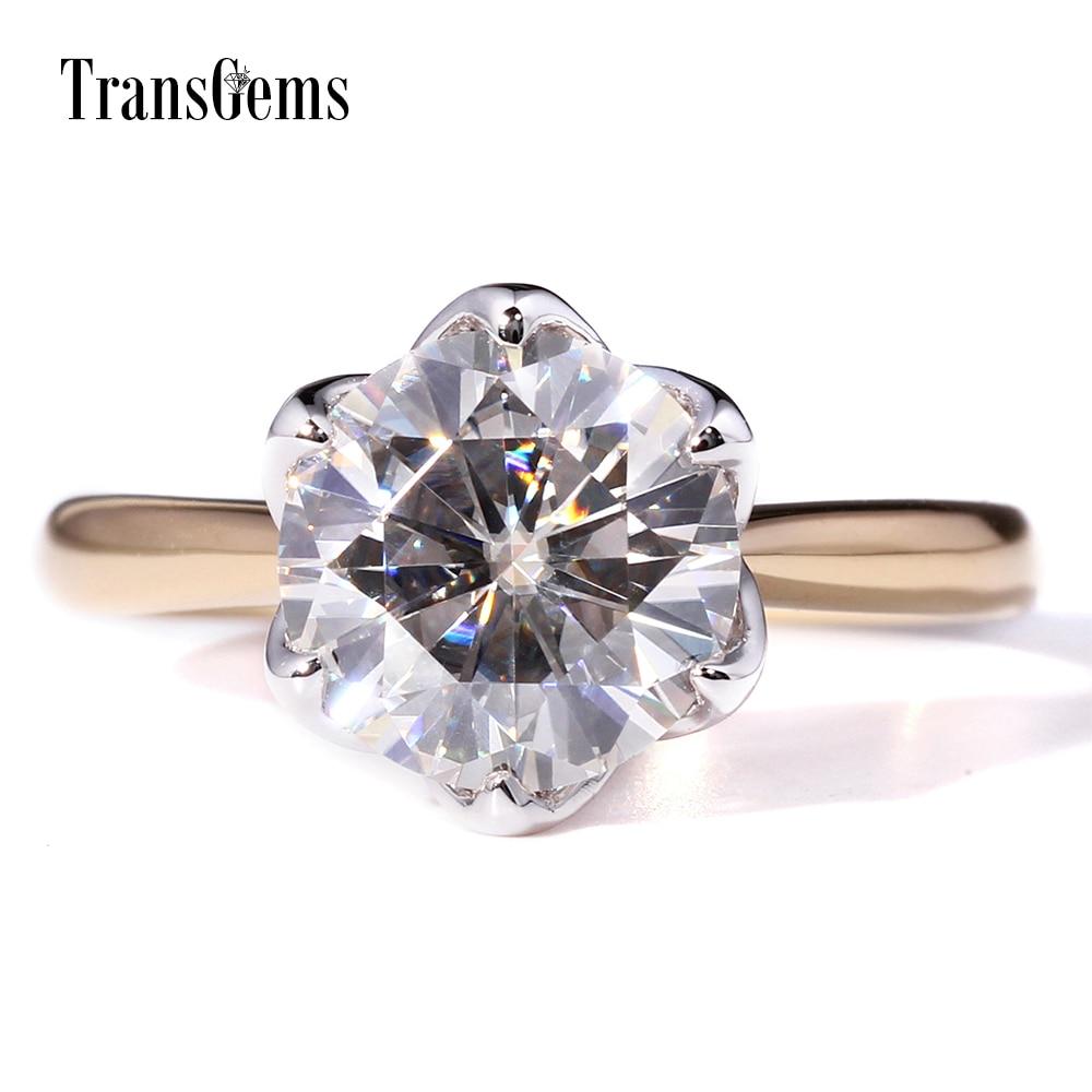 Transgems 14k White Gold 3 carat Diameter 9mm F Color moissanite Engagement Ring For Women Solitare