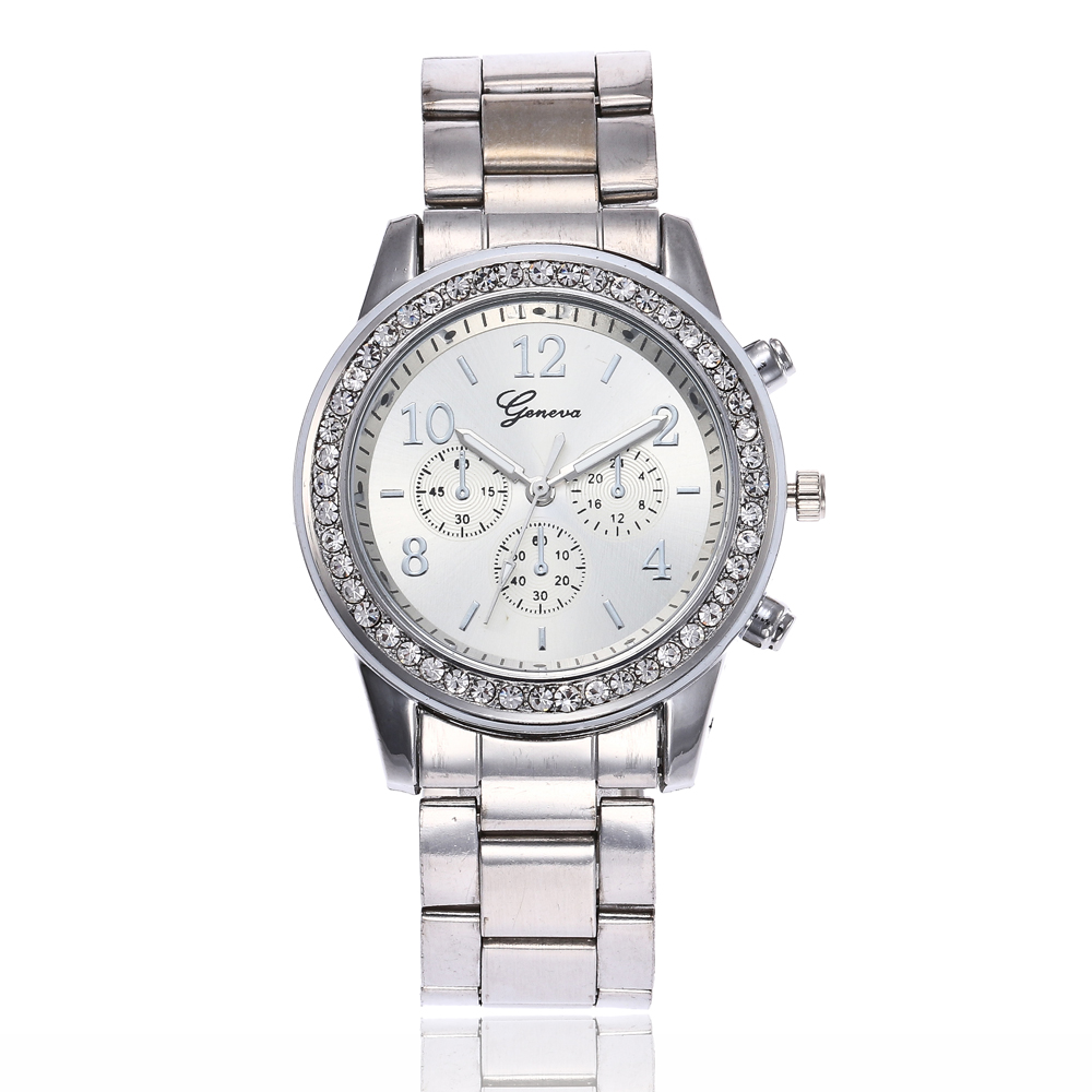 Drop Shipping Women Rhinestone Watch Fashion Rose Gold & Silver Stainless Steel Crystals Quartz Wristwatches Relogio Feminino ysdx 398 fashion stainless steel self stirring mug black silver 2 x aaa