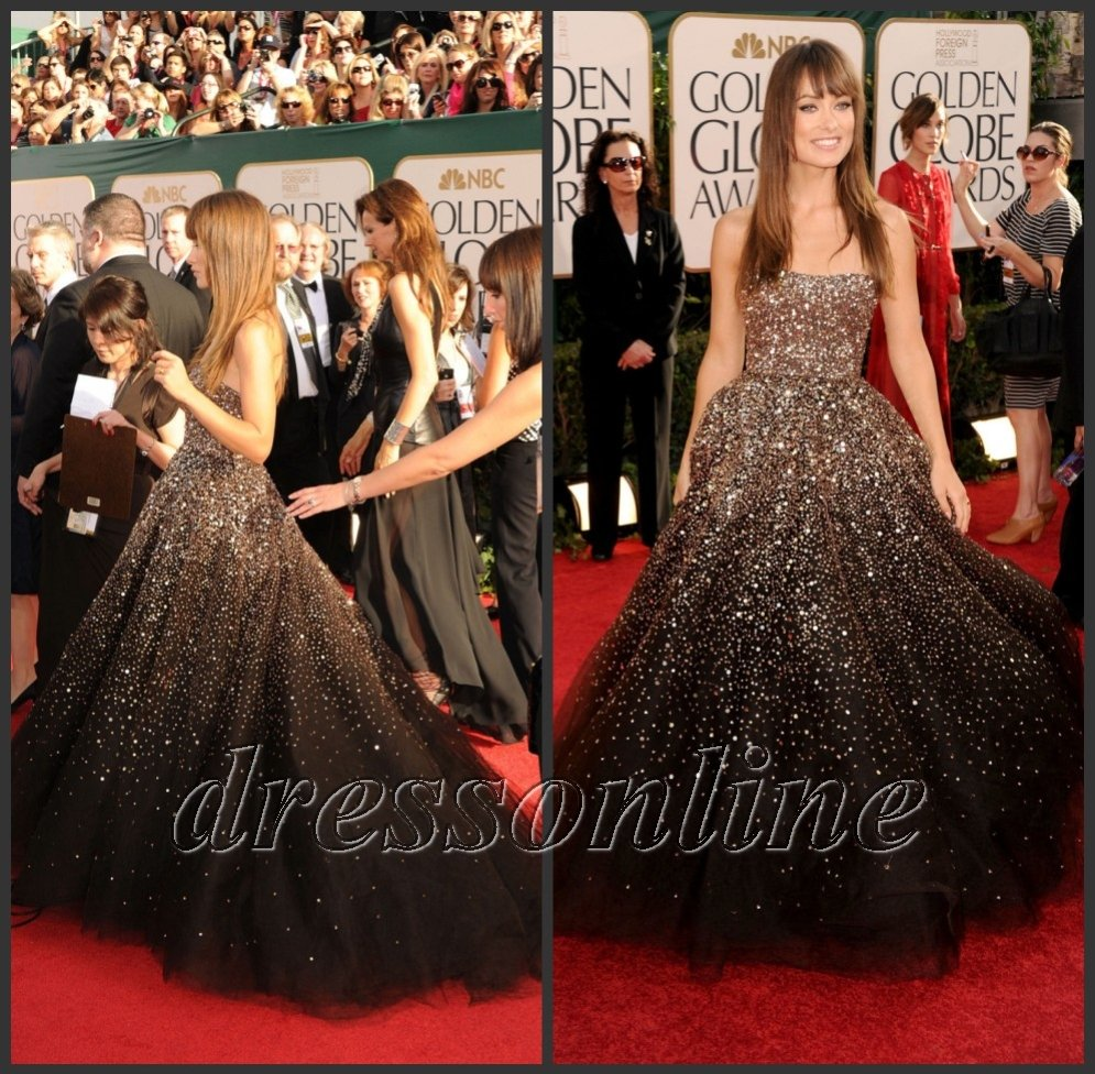 RCD002 Charming Olivia Wilde Brown Ball Gown Shinny Sequins Prom ...