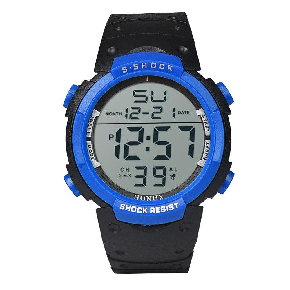 LED Large Screen Digital Display 30m Waterproof Shockproof Men Outdoor Sports Mountaineering Luminous Date Electronic Watch E70