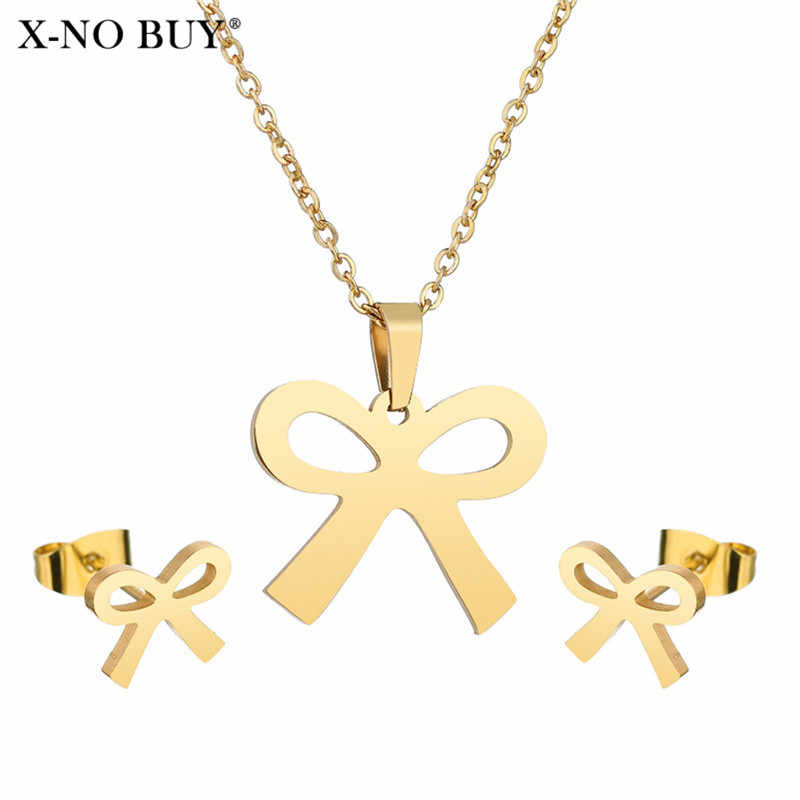 Newest Stainless Steel Sets For Women Cute Bow Necklace/ Earrings For Women Wedding/Engagement Gift Jewelry Wholesale