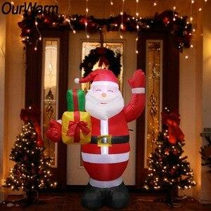 Image 1 - OurWarm 150cm ענק מתנפחים סנטה קלאוס חג המולד 2018 Airblown מתנפח פסל חיצוני חצר גן חדש שנה קישוט