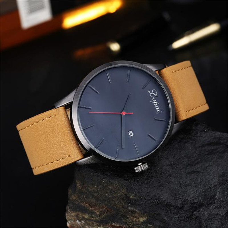 Watch Men Popular Low-key Minimalist Connotation PU Leather Men's Quartz Watch Relogio Masculino Montre Homme Mens Watches #NI
