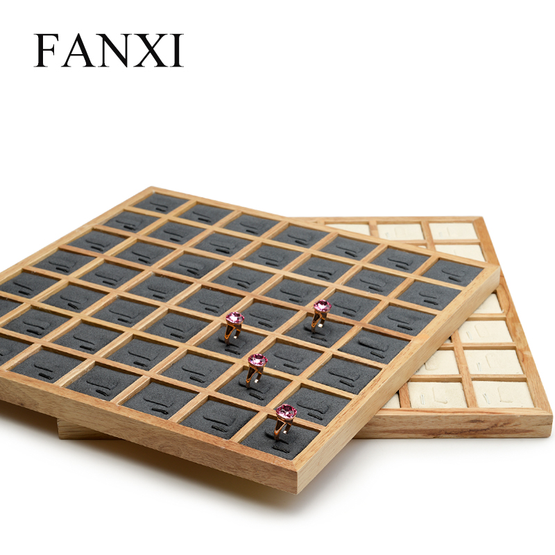 FANXI Wooden Jewelry Display Tray With Microfiber Insert Ring Display Props For Jewellry Store Exhibition Rings Organizer