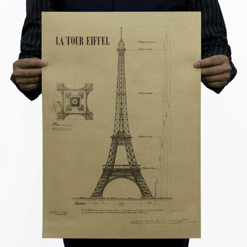 Romantic paris la tour eiffel retro vintage old poster - Poster tour eiffel ...