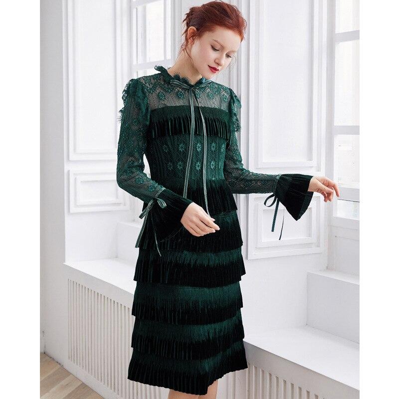 PIXY Lace Midi Party Dress Women Flare Long Sleeve Tassel Dresses Sexy Mesh Hollow Out Bow Ribbon Dark Green vestidos de fiesta
