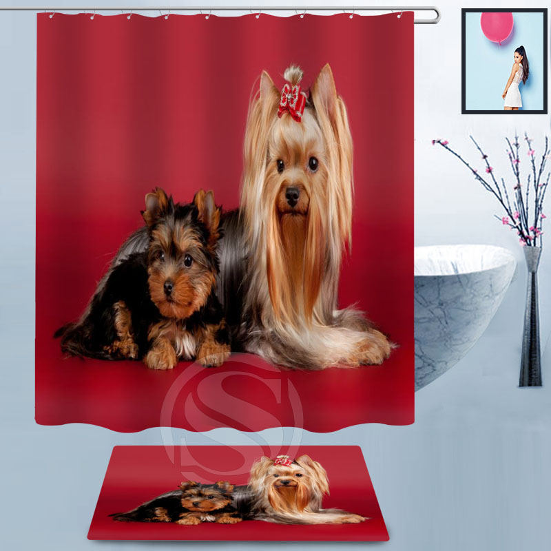 New ! Custom Hot Sale Polyester beautiful Bath Curtain lovely dog Shower Curtain+lovely dog non-slip Doormat entrance doormats