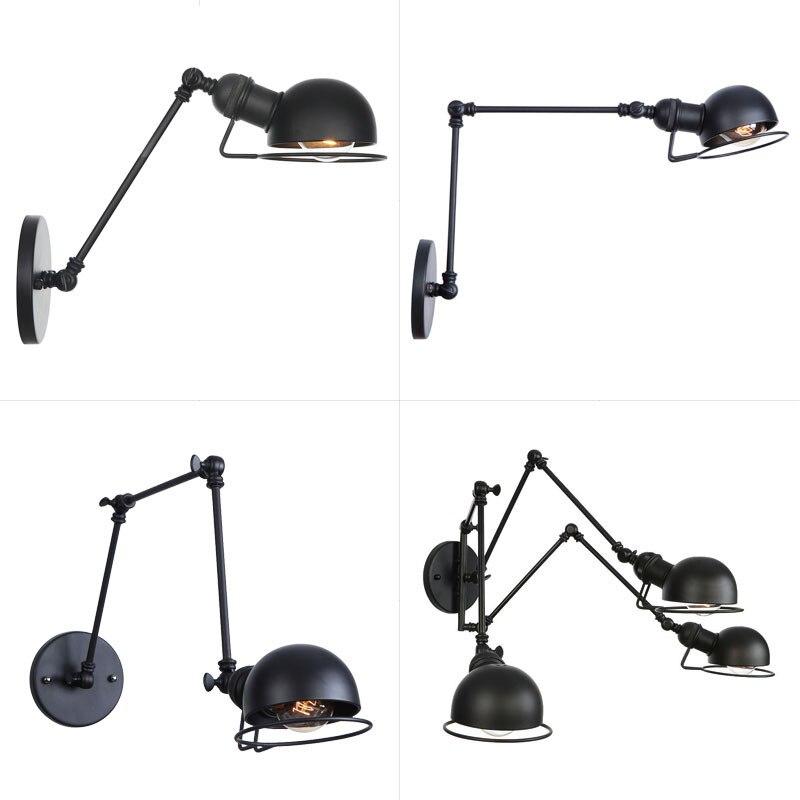 Retro Led Nordic Loft Industrial Adjustable Long Swing Arm Wall Lamp Fixture Vintage Edison Bulb Wandlamp Lights Lampen Sconce