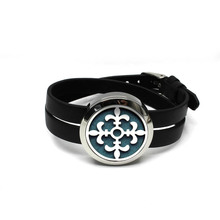 fashion new design 30mm stainless steel twist-off essential oil diffusing perfume locket wrap bracelet locket with leather band