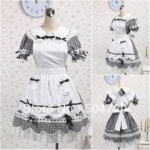 V-1218 Grau baumwolle Süße Schule Lolita Kleid/viktorianischen kleid Cocktailkleid/halloween-kostüm US6-26 XS-6XL