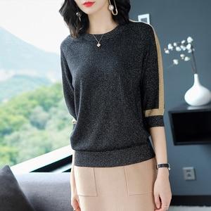 Image 2 - YISU suéter de primavera para mujer, jersey de manga corta, suéteres de Seda brillante a la moda, Tops finos de cuello redondo, suéteres de punto para mujer 2019