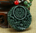 Natural Real HeTian Jade Hand Carved Chinese Dragon Eight Tri-grams Amulet pendants Green Jade Pendant Necklace Fashion Jewelry