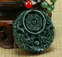 Natural Real HeTian Yu Hand Carved Chinese Dragon Eight Tri-grams Amulet pendants Green Pendant Necklace Fashion Jewelry