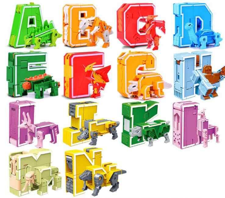 26 inglês Letra Do Alfabeto de Transformação Robô Animal Criativo Educacional Número de Figuras de Ação Robot Building Block toy Modelo