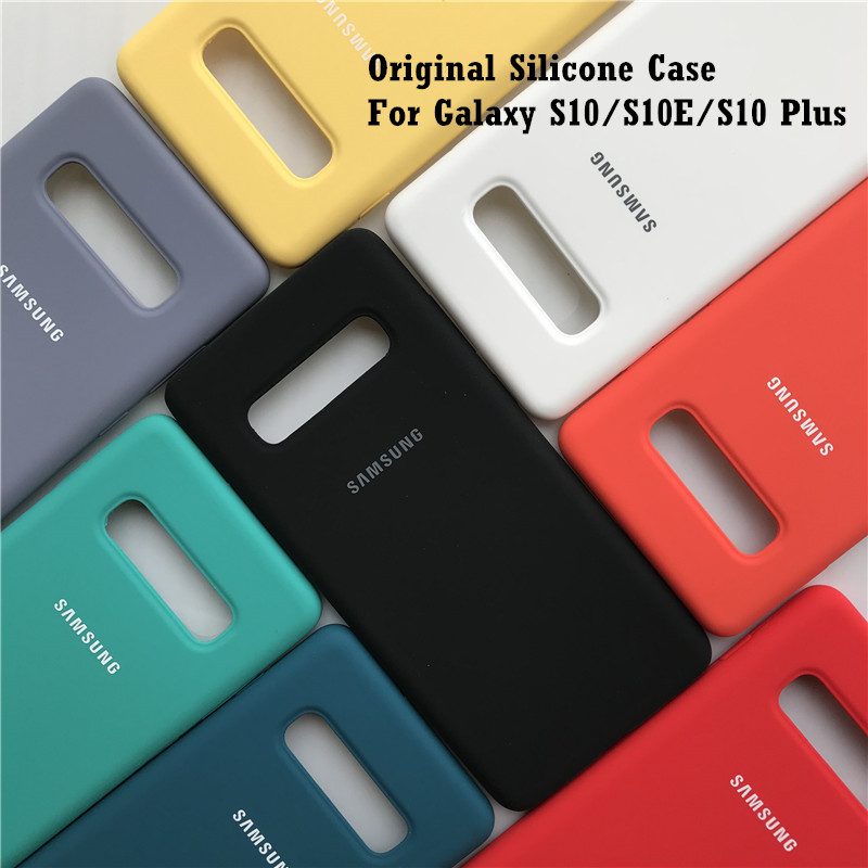 Original Samsung Galaxy S10/S10 Plus/S10e Case Silky Silicone Cover High Quality Soft-Touch Back Protective Shell S10 + S10 Lite