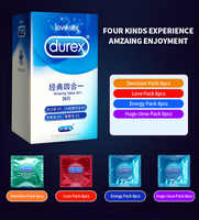 Juego de condones Durex sensación de Magibox increíble valor pene manga Látex Natural con condones Extra lubricados juguete sexual para hombres