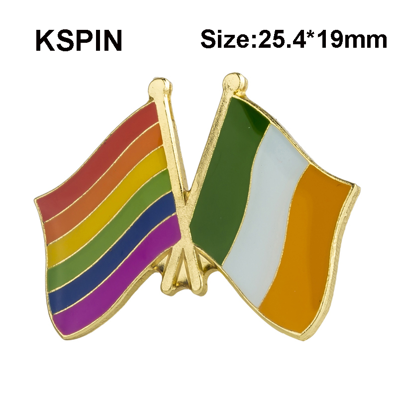 2019 Latest Design 1pcs Rainbow And Ireland Friendship Badge Icon Bag Decoration Buttons Metal Badges Brooch For Clothes Xy0240 Badges Apparel Sewing & Fabric