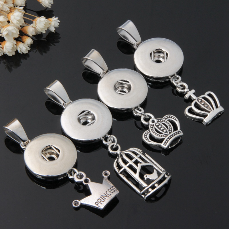 Wholesale 12pcs/lot Mix 4styles Tiara Crown Charms 18mm Metal Snap Buttons Pendants For Women Diy Interchangeable Snap Jewelry snap button jewelry