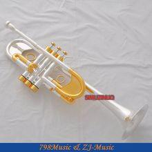Профессиональный Тяжелый C Ключ труба Серебряный позолоченный Рог Заказная серия с Чехол