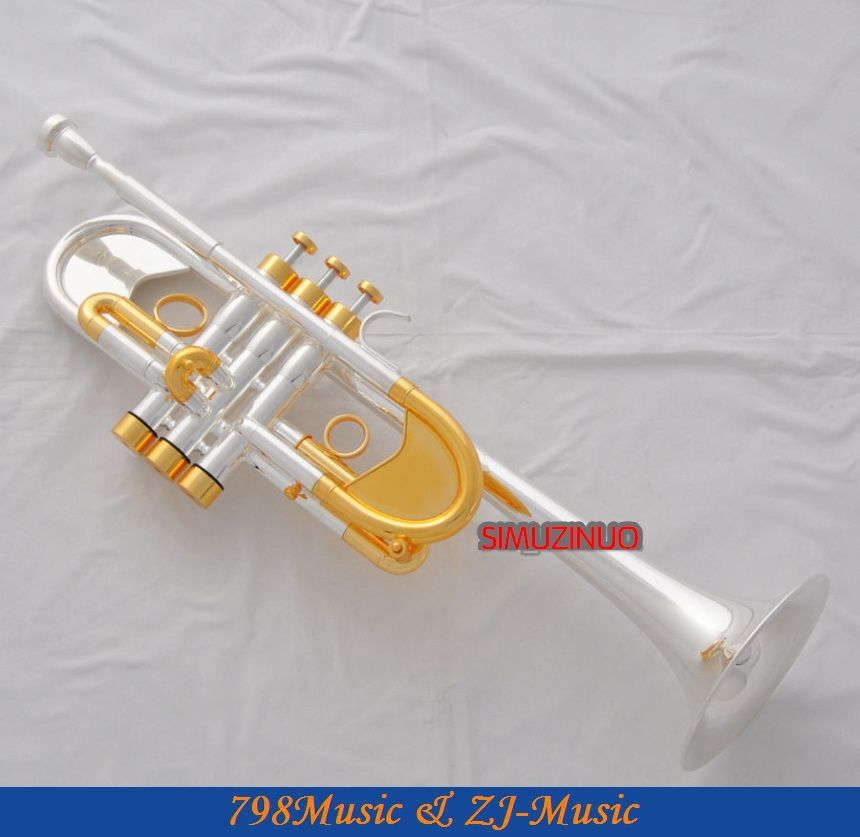 Professional Heavy C Key Trumpet Silver Gold Plated Horn Custom series With Case one horn double row 4 key single french horn fb key french horn with case surface gold lacquer professional musical instrument