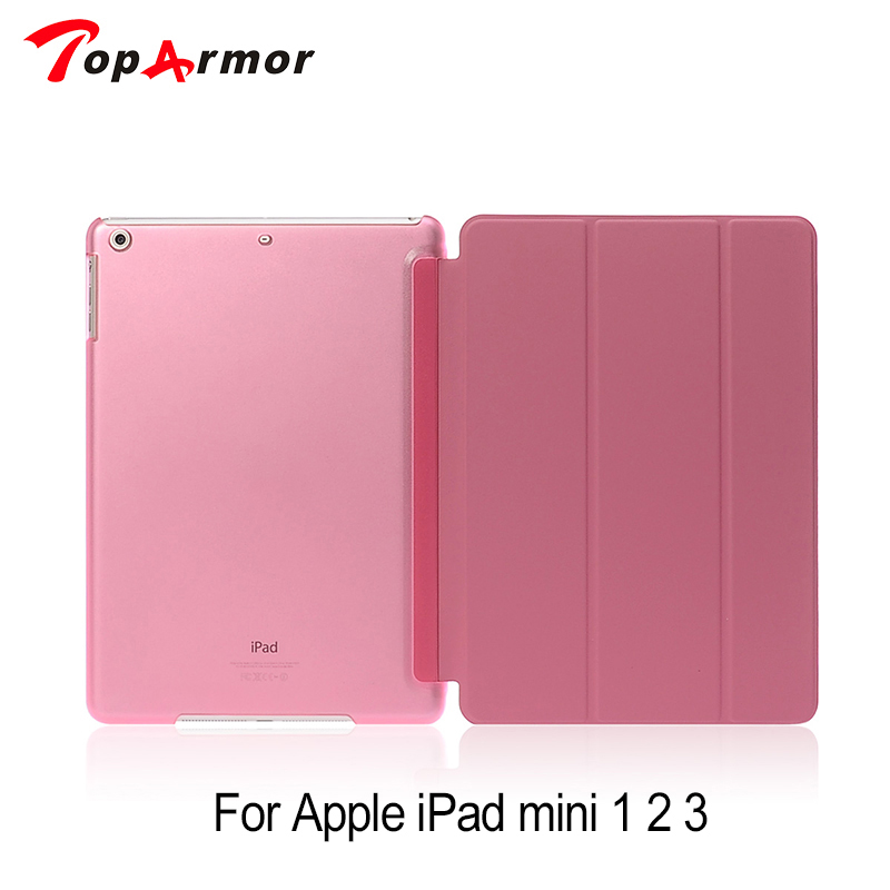 TopArmor Mini 2 Three Folding Silk Grain Case For Apple iPad Mini 3 Slim Stand Holder Tablet PC Flip Leather Cover 7.9