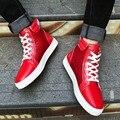 39-46 plus size masculino causl alta superior sapatos de plataforma 2017 primavera inverno nova moda dos homens cor sólida sapatas de lona