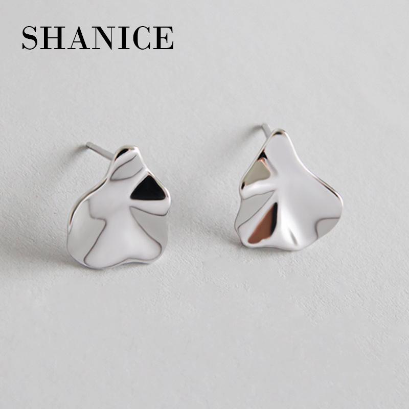 SHANICE Smooth Small Simple Puzzle Stud Earrings Joker 925 Pure White Twist Leave Hypoallergenic Ear Fashion Jewelry New Style