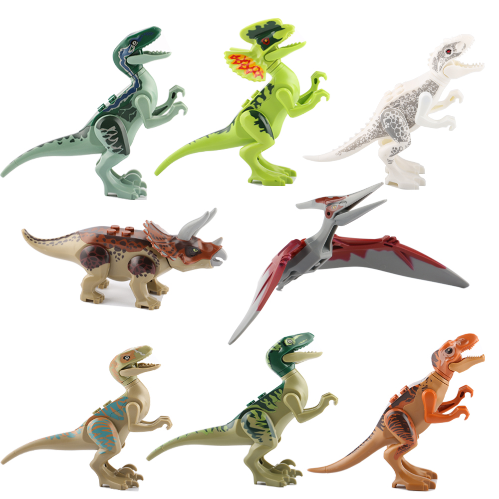 8Pcs/Set Jurassic World Dinosaur Building Blocks Super Hero Dinosaur Bricks Kids Toys For Children Compatible With LegoeINGlys 8pcs diferent dinosaur world plastics kid baby toy building blocks brick educational toys for children kids set