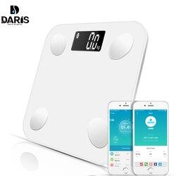 Báscula SDARISB Bluetooth Báscula de baño báscula inteligente retroiluminada báscula de visualización peso corporal grasa corporal agua masa muscular IMC