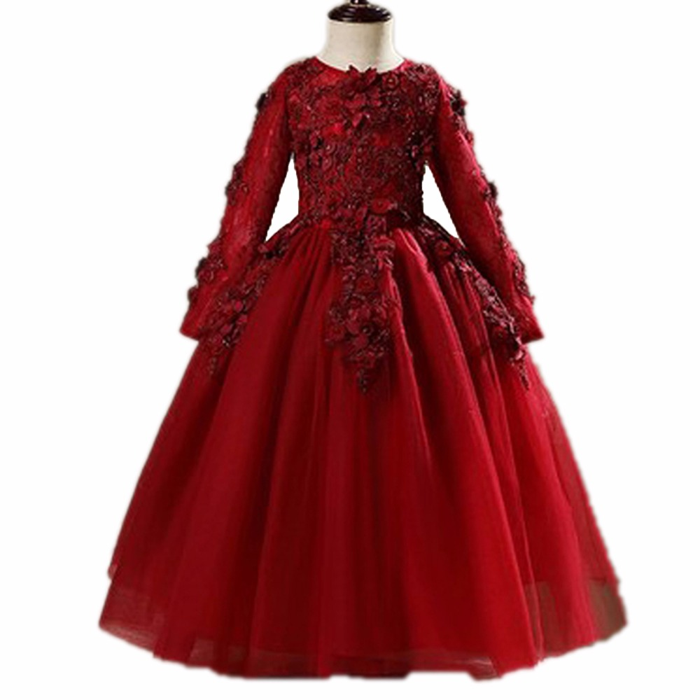 2018 Elegant Wine Red Tulle Appliques Flower Girl Dress For Wedding Kids Party Prom Dress First Communion Dresses Princes B5 fs royal wine red vintage wool pillbox hat for woman elegant wedding ladies dress hats fascinator derby party church fedora