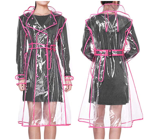 Image 5 - YUDING Waterproof Transparent Plastic Clear Long Ladies Raincoats Women Men Fashion Rain Coat Jackets Hooded with Belt