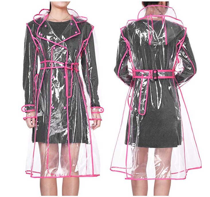 YUDING водонепроницаемые прозрачные пластиковые прозрачные длинные EVA женские дождевики женские мужские модные дождевики куртки с капюшоном и поясом