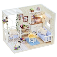 18CM White 3D Wooden House Tinkering Wood Decorative Mini DIY Doll With Lights Cabinet Furniture Figurines Crafts From Wood Toys