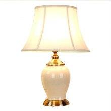 On Sale American Rural Ice Cracked Ceramic Fabric Led E27 Table Lamp For Living Room Bedroom Study Blue/white H 56cm Ac 80-265v