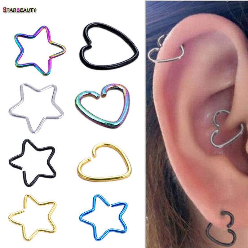 2Pcs Heart/Star Shaped Fake Tragus Piercings Hoop Helix Cartilage Tragus Daith Ear Studs Lip Nose Rings Piercing Silver Jewelry 600rr anahtarlık