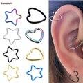 2 piezas de corazón en forma de estrella de falso Tragus Piercings de Helix cartílago Tragus Daith pendientes labio anillos de nariz Piercing joyería de plata