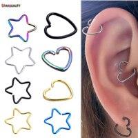 7e2de482c 2Pcs Heart/Star Shaped Fake Tragus Piercings Hoop Helix Cartilage Tragus  Daith Ear Studs Lip Nose Rings Piercing Silver Jewelry