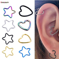 2Pcs Heart/Star Shaped Fake Tragus Piercings Hoop Helix Cartilage Tragus Daith Ear Studs Lip Nose Rings Piercing Silver Jewelry
